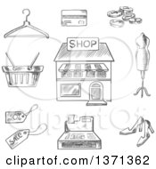 Clipart Of A Black And White Sketched Central Store Front Surrounded By A Till Sale Price Basket Hanger Credit Card Cash Mannequin And Shoes Royalty Free Vector Illustration