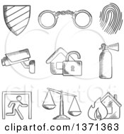 Clipart Of A Black And White Sketched Security Shield  Handcuffs Thumb Print Surveillance Camera Padlock Fire Extinguisher Emergency Exit Scales Of Justice And Fire Royalty Free Vector Illustration