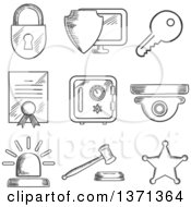 Clipart Of A Black And White Sketched Padlock Computer Security Virus Certificate Key Police Alarm Gavel And Sheriff Star Royalty Free Vector Illustration by Vector Tradition SM