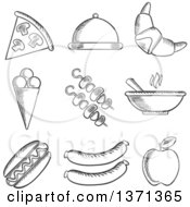 Clipart Of Black And White Sketched Food Royalty Free Vector Illustration