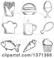 Clipart Of Black And White Sketched Foods Royalty Free Vector Illustration