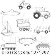 Poster, Art Print Of Black And White Sketched Submarine Yacht Scooter Tractor Blimp Van Train Ship And Tank Car
