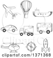 Clipart Of A Black And White Sketched Airplane Hot Air Balloon Bus Truck Car Compass Helicopter Tanker And Space Ship Royalty Free Vector Illustration