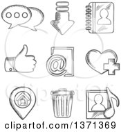 Clipart Of Black And White Sketched Chat Download Notebook Like E Mail Navigation Favorite Media And Bin Symbols Royalty Free Vector Illustration by Vector Tradition SM