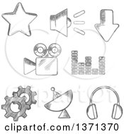 Clipart Of Black And White Sketched Satellite Sound Movie Gears Audio Star And Download Elements Royalty Free Vector Illustration