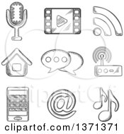 Clipart Of A Black And White Sketched Microphone Wi Fi Web Film Video Tablet Network And Music Notes Royalty Free Vector Illustration by Vector Tradition SM
