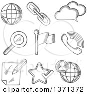 Clipart Of Black And White Sketched Social Media Search Zoom Note Globe Phone Cloud Link And Popular Elements Royalty Free Vector Illustration