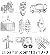 Poster, Art Print Of Black And White Sketched Machinery Light Bulb Mining Tank Car Shipping Wind Turbine Plug Forklift And Agriculture Symbols