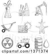 Clipart Of A Black And White Sketched Oil Well Factory Oil Derrick Mining Solar Panel Electricity Pylon Nuclear Energy Tractor And Oil Barrel Royalty Free Vector Illustration