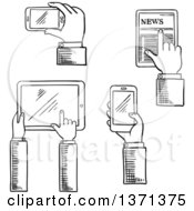 Black And White Sketched Hands Using Touch Screen Gadgets