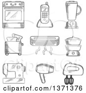 Clipart Of A Black And White Sketched Oven Telephone Liquidizer Toaster Heater Steamer Sewing Machine Hairdryer And Egg Beater Royalty Free Vector Illustration