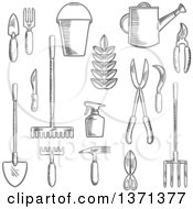 Clipart Of A Black And White Sketched Garden Trowel Knife Fork Shears Rake Scissors Spray Bottle Weeding Hoe Sickle And Watering Can Royalty Free Vector Illustration
