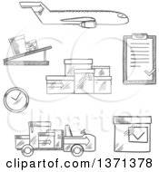 Clipart Of A Black And White Sketched Airplane Conveyor Cardboard Boxes With Packaging Symbols Airport Truck Clock And Clip Board With Order List Royalty Free Vector Illustration