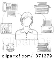 Black And White Sketched Secretary Telephone Fax Folders With Documents Pen Printer Mail Typewriter And Elegant Young Woman