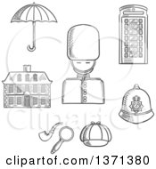 Clipart Of A Black And White Sketched British Guard Soldier Telephone Booth Police Helmet Detective Cap Pipe And Magnifier Umbrella And Old Building Royalty Free Vector Illustration by Vector Tradition SM