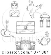 Clipart Of A Black And White Sketched Gate Way Arch Woman In A Sari National Flag Pot Of Tea And A Hookah Pipe Royalty Free Vector Illustration by Vector Tradition SM