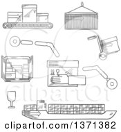 Clipart Of A Black And White Sketched Cargo Ship Containers Hand Truck And Conveyor Belt With Post Boxes Royalty Free Vector Illustration