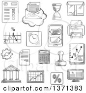 Clipart Of A Black And White Sketched Computer Report Financial Charts Graph Smartphone Letter And Delivery Box Bank Rubber Stamp And Calculator Wall Clock And Hourglass Printer Percent Symbol And Gear Royalty Free Vector Illustration by Vector Tradition SM