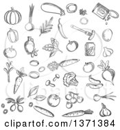 Clipart Of A Black And White Sketched Foods Royalty Free Vector Illustration