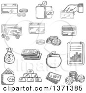 Clipart Of A Black And White Sketched Dollar Bills And Golden Coins Stack Of Gold Bars Wallet Money Bag Bank Credit Cards And Financial Report Royalty Free Vector Illustration
