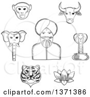 Clipart Of A Black And White Sketched Indian Man In Turban With Holy Cow Elephant Cobra Monkey Lotus Tiger For Travel Design Usage Royalty Free Vector Illustration