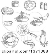 Clipart Of Black And White Sketched Sushi Roll And Nigiri Pasta And Spaghetti With Sauce Raw Beef Steaks Grilled Fish Shrimp Fried Eggs With Sausages Olive Oil Bottle Salt And Pepper Royalty Free Vector Illustration