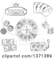 Clipart Of A Black And White Sketched Roulette Wheel Dice Playing Cards Gambling Chips Dollar Bills Casino Sign Board With Golden Crown And Slot Machine With Triple Seven Royalty Free Vector Illustration