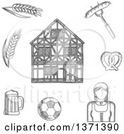 Clipart Of A Black And White Sketched Beer Mug Grilled Sausage Pretzel Football Ball Woman In National Costume Barley And Traditional German Half Timbered Building Royalty Free Vector Illustration