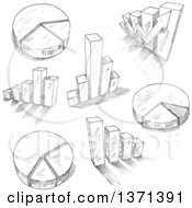 Clipart Of A Black And White Sketched Charts And Graphs Royalty Free Vector Illustration