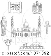 Clipart Of A Black And White Sketched Cairo Mosque Pharaoh Mummy Desert Landscape With Pyramids And Sea Sacred Lotus Flower Papyrus With Hieroglyphics Eagle Emblem And Ankh Symbol Royalty Free Vector Illustration