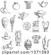 Clipart Of A Black And White Sketched Ancient Torch Stone Fire Bowls Amphora Copper And Ceramic Teapots Oil Lamp Hookah Pipe Tea Services Vases Jug And Plates Royalty Free Vector Illustration