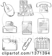 Clipart Of A Black And White Sketched Files Calculator Printer Paper Clip Documents Calendar Computer Mouse And Telephone Royalty Free Vector Illustration