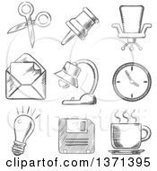 Clipart Of A Black And White Sketched Thumb Tack Scissors Chair Mail Lamp Clock Lightbulb And Cup Of Tea Royalty Free Vector Illustration