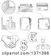 Clipart Of A Black And White Sketched Pie And Bar Graph Dollar And Euro Currency Symbolsbank Credit Card Purse Handshake Flow Charts Notebook And Books Royalty Free Vector Illustration