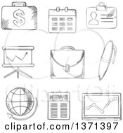 Clipart Of A Black And White Sketched Money Calendar Briefcase Reports Computer Pen Globe Financial News And Analytical Graphs Royalty Free Vector Illustration