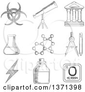 Clipart Of A Black And White Sketched Telescope Flask And Tuber Compasses Atom Ancient Temple Radiation And Power Signs Royalty Free Vector Illustration