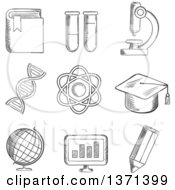 Clipart Of A Black And White Sketched Globe Dna Atom Book Flasks And Tubes Microscope Pencil Computer And Academic Cap Royalty Free Vector Illustration