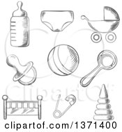 Clipart Of A Black And White Sketched Baby Pram Ball Bottle Dummy Or Pacifier Crib Nappy Safety Pin And Toys Royalty Free Vector Illustration by Seamartini Graphics