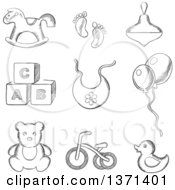 Clipart Of A Black And White Sketched Rocking Horse Duck Spinning Top Abc Blocks Bib Balloons Tricycle And Footprints Royalty Free Vector Illustration