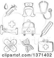Clipart Of A Black And White Sketched Syringe Nurse Stethoscope Bandages DNA Ambulance Thermometer First Aid Kit And Hospital Bed Royalty Free Vector Illustration