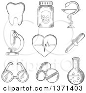 Clipart Of A Black And White Sketched Tooth Dentistry Poison Microscope Heart With ECG Spectacles Dropper And Laboratory Tube Royalty Free Vector Illustration
