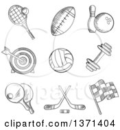 Clipart Of Black And White Sketched Tennis Football Bowling Archery Hockey Motor Racing Weight Lifting Table Tennis Rugby And Volleyball Items Royalty Free Vector Illustration by Vector Tradition SM