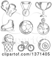 Clipart Of A Black And White Sketched Basketball Soccer  Football Ice Skating Boxing Gloves Cycling And Bowls With A Winners Medal Trophy And Stopwatch Royalty Free Vector Illustration