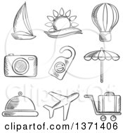 Clipart Of A Black And White Sketched Yacht Hot Air Balloon Tropical Sun Camera Beach Umbrella Food Airplane Luggage And A Do Not Disturb Sign Royalty Free Vector Illustration by Vector Tradition SM