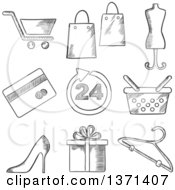 Clipart Of A Black And White Sketched Shopping Cart Bags Tailors Dummy Stiletto Shoe Dress Size Gift Hanger Credit Card And Shopping Bag Royalty Free Vector Illustration