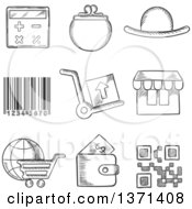 Clipart Of A Black And White Sketched Purse Wallet Calculator Bar Code Trolleys Store Globe And Digital Code Royalty Free Vector Illustration