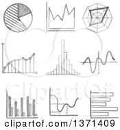 Clipart Of A Black And White Sketched Pie Graph Bar Graphs Fluctuating Charts And Infographics Royalty Free Vector Illustration