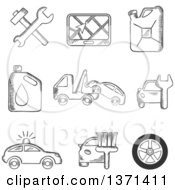 Black And White Sketched Tools Road Sign Oil And Petrol Containers Tow Truck Wheel Tyre Jerry Can Police Car Wash And Garage