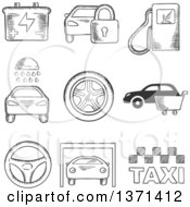 Clipart Of A Black And White Sketched Fuel Pump Security Battery Car Wash Tyre Purchase Steering Wheel Garage And Taxi Royalty Free Vector Illustration