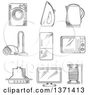 Clipart Of A Black And White Sketched Vacuum Cleaner Kettle Iron Fridge Microwave Oven Needle And Cotton Television And Washing Machine Royalty Free Vector Illustration by Vector Tradition SM